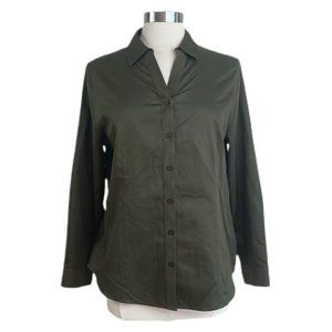 CHICO'S NO-IRON Green Long Sleeve Button-down